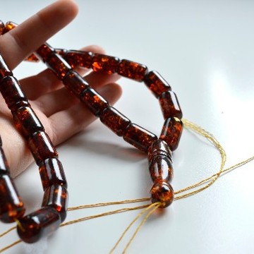 Red Cherry color Baltic Amber Islamic Prayer Beads 52 g 18 x 11 mm Deep Tea rosary
