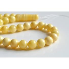Intense Milky White Misbaha Rosary Prayer, Pure 33 Baltic Amber Islamic Worry Beads 50 g 13 mm