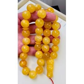 Baltic Amber Tespih Butterscotch Egg Yolk Color Misbaha 33 Beads 17 mm 91.5 g Handmade