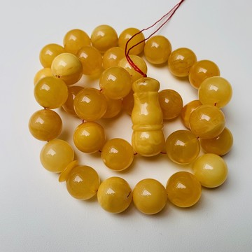 Baltic Amber Tespih Butterscotch Egg Yolk Color Misbaha 33 Beads 17 mm 91.5 g Handmade