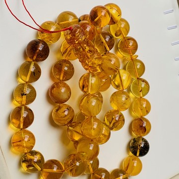 Baltic Amber Insects Tespih Orange Color Misbaha 45 Beads 18 mm 143 g Handmade