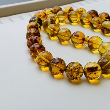 Baltic Amber Insects Tespih Orange Color Misbaha 33 Beads 15 mm 75 g Handmade