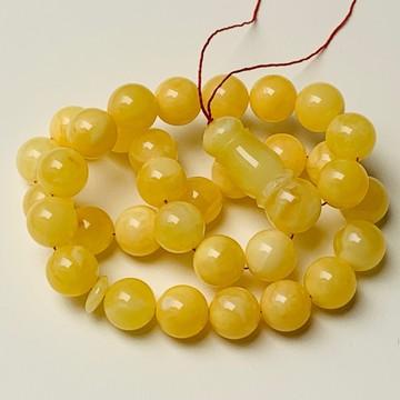 Baltic Amber Tespih Butterscotch Egg Yolk Color Misbaha 33 Beads 14 mm 52.5 g Handmade