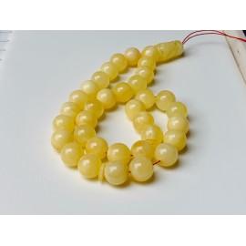 Intense Milky White Misbaha Rosary Prayer, Pure 33 Baltic Amber Islamic Worry Beads 52 g 14 mm