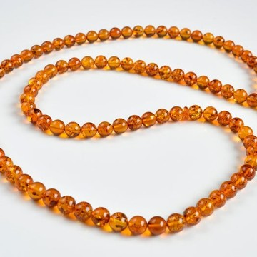 Baltic Amber Tespih Cognac With Shell Color Misbaha 99 Beads 56.5 g