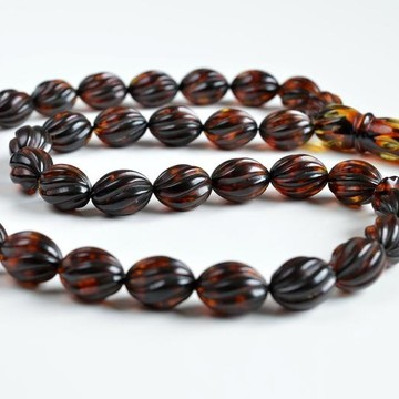 Tea Color Natural Baltic Amber Spiral Pattern Rosary 47 grams