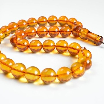 Baltic Amber Tespih Cognac Color Misbaha 33 Beads 82 g