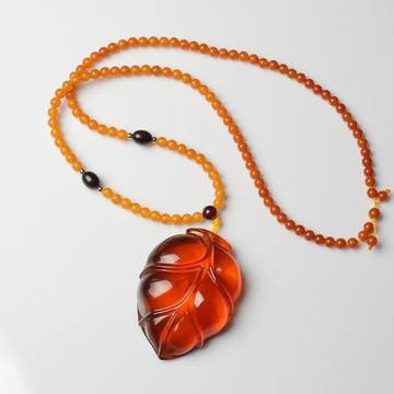 Red Baltic Amber Rose Pendant, Hand Carved Natural Cognac Amber Necklace, Deep Tea Amber Choker