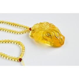 Yellow Baltic Amber Rose Pendant, Hand Carved Natural Amber Pendant 37g , Healing Amber Bernsteinkette