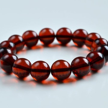 13 mm Baltic Amber bracelet round beads red cherry color 21 grams handmade Beads