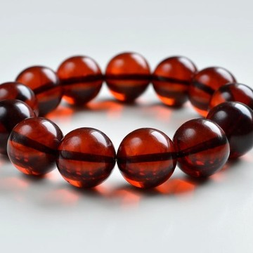 16.5 mm Baltic Amber bracelet round beads red cherry color 34.5 grams handmade Beads