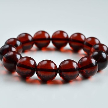 14.5 mm Baltic Amber bracelet round beads red cherry color 25 grams handmade Beads