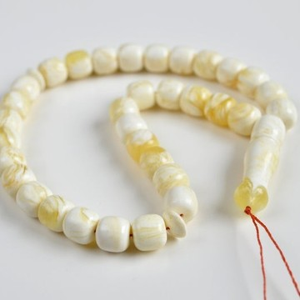 White Amber Round Beads, Ivory White Color Baltic Amber Islamic Prayer Beads 33 Worry Beads 23.5 g