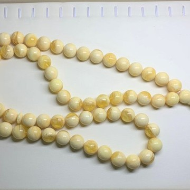 White Amber Round Beads, Ivory White Color Baltic Amber Islamic Prayer Beads 66 Worry Beads 95 g