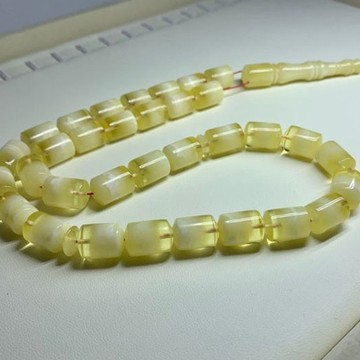 White Amber Barrel Beads, White Color Baltic Amber Islamic Prayer Beads 33 Worry Beads 43 g