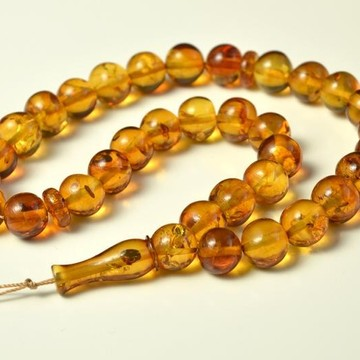 Oval Baltic Amber Beads Islamic Koran Prayer Beads 33 Amber Beads Orange Gold Color 34.5 gram