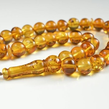 Oval 100% Natural Baltic Amber Beads Islamic Koran Prayer Beads 33 Amber Beads Orange Color