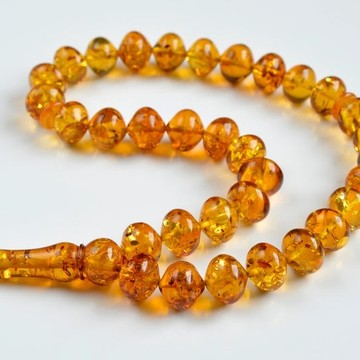Oval Baltic Amber Beads Islamic Koran Prayer Beads 33 Amber Beads Cognac Color