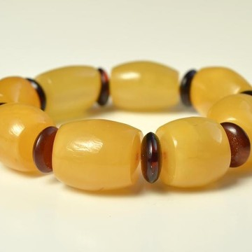 Butterscotch Baltic Amber Bracelet, Barrel Beads Egg Yolk Amber Bracelet, Massive Amber Bracelet
