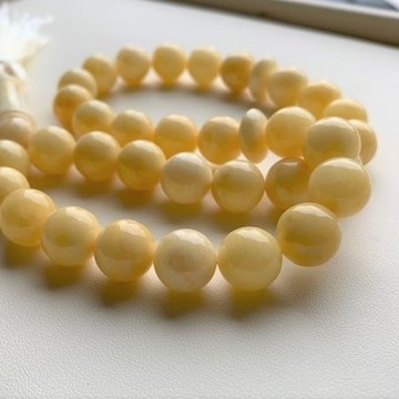 Creamy Yellow Amber Misbaha Rosary 33 Baltic Amber Round Beads, Baltic Amber 12mm 33  Worry Beads 35.8g