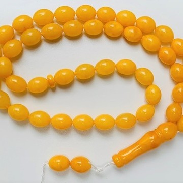 Butterscotch Baltic Amber Islamic Worry Beads Olive Shape Misbaha 45 Beads  43 g