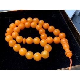 Butterscotch Baltic Amber Islamic Worry Beads Round Shape Misbaha 33 Amber Beads  53.7 g