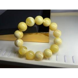 Egg Yolk Baltic Amber Beaded Bracelet , Round Beads 18 mm 42g