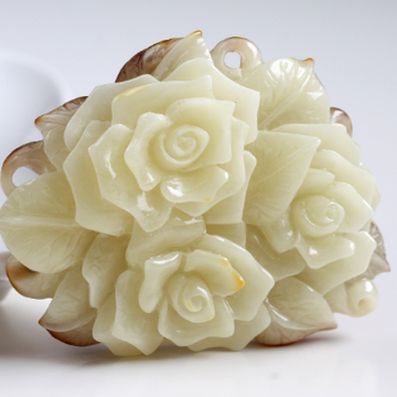 Antique White Baltic Amber Flowers Roses Sculpture Relief Hand Carved Butterscotch Amber Feng Shui Zodiac