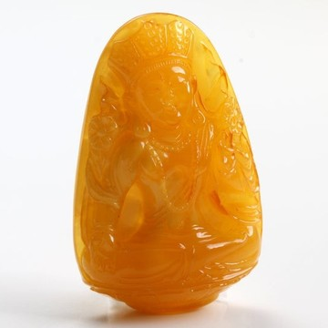 Antique Baltic Amber Chinese Good Luck Buddha Sculpture Hand Carved Butterscotch Amber Feng Shui Zodiac