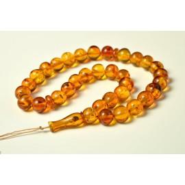 Oval Baltic Amber Beads Islamic Koran Prayer Beads 33 Amber Beads Orange Gold Color 34.5 g