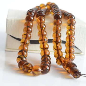 Cognac with Shell Baltic Amber Prayer Beads 35 grams