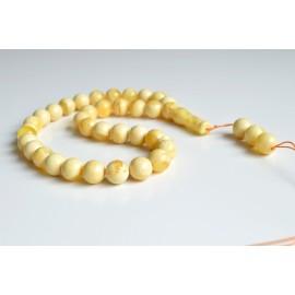 White Ivory Creamy Yellow Amber Misbaha Rosary 33 +3 Baltic Amber Round Beads 14 mm 33  Worry Beads 56 g