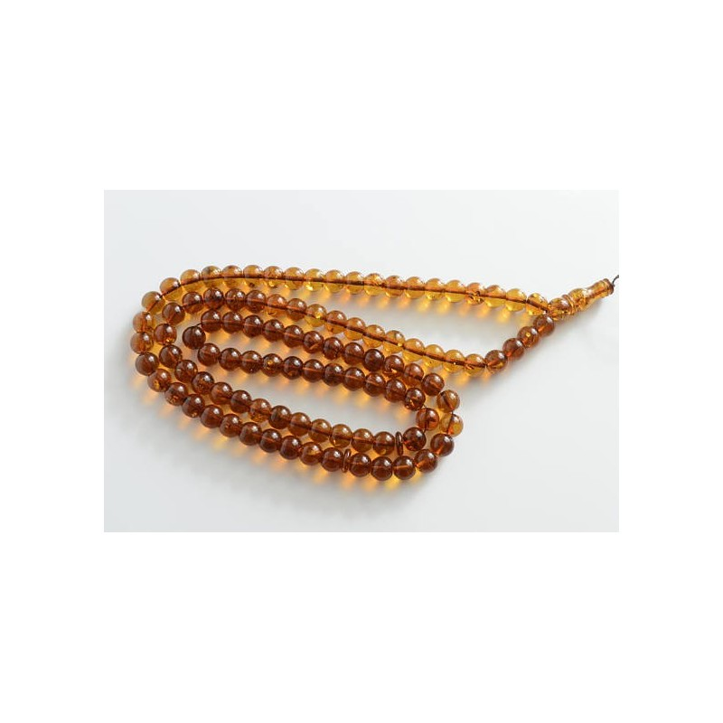 Cognac with Shell Baltic Amber Prayer Beads 53.60 grams