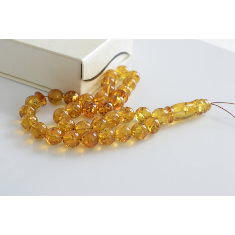 Cognac with Shell Baltic Amber Prayer Beads 40.05 grams
