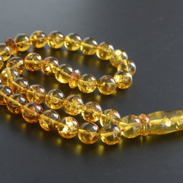 Cognac with Shell Baltic Amber Prayer Beads 40.05 grams