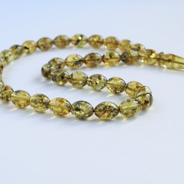 Green Amber Misbaha Rosary 33 Baltic Amber Olive Beads 10.5 x 8 mm 33 Worry Beads 14 g