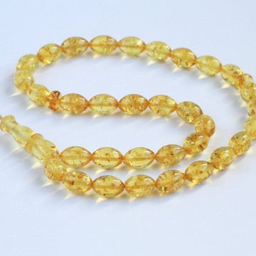 Yellow Amber Misbaha Rosary 33 Baltic Amber Olive Beads 10.5 x 7 mm 33 Worry Beads 10 g