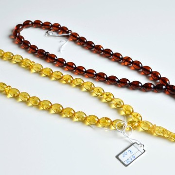 Set of Two Amber Misbaha Rosary 33 Baltic Amber Olive Beads 12 x 9 mm 33 Worry Beads