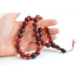 Baltic Amber Tespih Red Cognac Amber Misbaha 33 Beads 12.5 mm 43 g Handmade