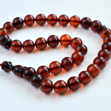 Baltic Amber Tespih Red Amber Clear Color Misbaha 33 Beads 12 mm 34 g Handmade