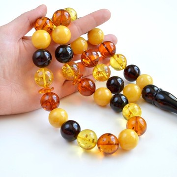 Massive Baltic Amber Tespih Multicolored Amber Egg Yolk Misbaha 33 Beads 19.5 mm Handmade Amber 161.5 g White Cherry Amber