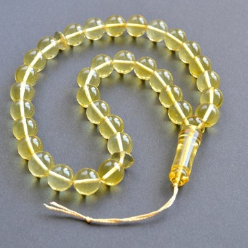 Clear Amber Tasbih Rosary of Baltic Amber Massive 12 mm Beads 34 g Yellow Amber Islamic Misbaha