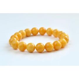 Butterscotch Amber Bracelet 10 mm 11 g, Egg Yolk Amber Bracelet, Massive Amber Bracelet, Yellow Natural Organic Amber