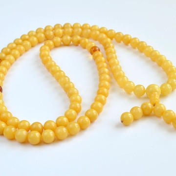 copy of Butterscotch / Red Cherry Baltic Amber Buddhist Prayer Beads 41.65 grams