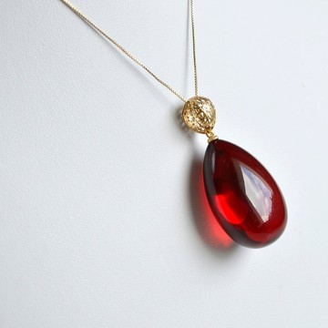 Royal Red Ruby Amber Pendant, Gold- plated 925 Silver, Exclusive Amber Pendant, Drop Shape Pendant, Natural Baltic Amber