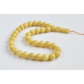 Butterscotch Amber Round Beads, Creamy Yellow Baltic Amber Islamic Prayer Beads 33 Worry Beads 44 g 13 mm