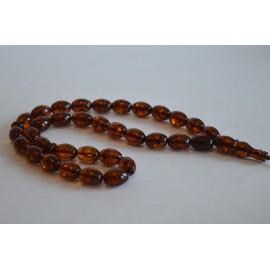 Cognac / Deep Tea with Shell Baltic Amber Prayer Beads 29.75 grams