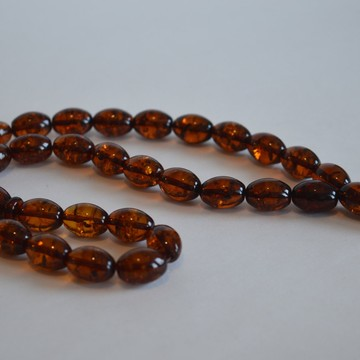 Cognac / Deep Tea with Shell Baltic Amber Prayer Beads 29.75 grams