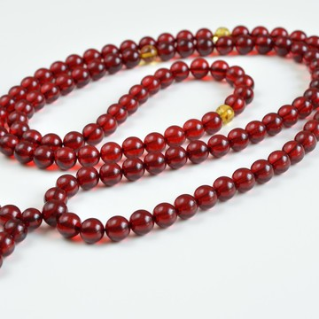 copy of Japa Mala Meditative Rosary of Red Baltic Amber 40 grams 9mm Buddhist necklace