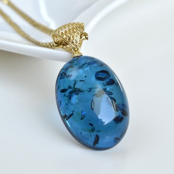 Natural Blue Baltic Amber Pendant, Gold-plated 925 Silver Necklace